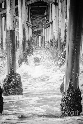 Under The California Pier Black And White Picture Art Print