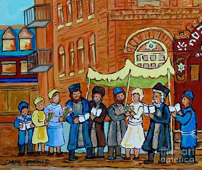 Bagg Street Shul Painting - Under The Chupa Jewish Wedding Party Montreal Street Scene Bagg Synagogue Carole Spandau             by Carole Spandau