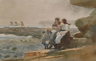 Painting - Under The Cliff Cullercoats by Winslow Homer