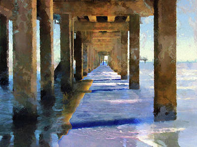 Photograph - Under The Galvaston Pier - Limited Edition by Cedric Hampton