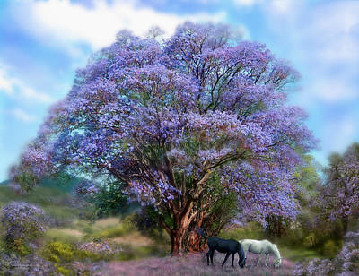Horse Art Mixed Media - Under The Jacaranda by Carol Cavalaris