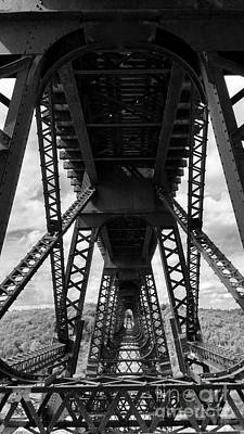 Kinzua Photograph - Under The Kinzua Bridge In Black And White by E B Schmidt