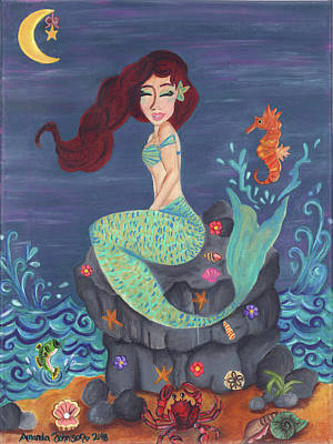 Painting - Under The Merlight Sea by Amanda Johnson