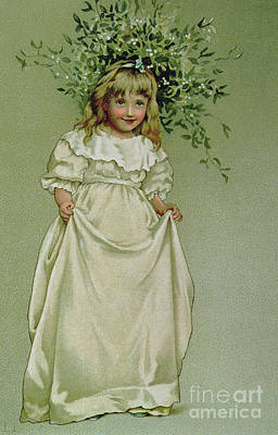 Nineteenth Century Painting - Under The Mistletoe by Lizzie Mack