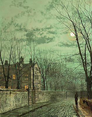 Cobblestone Painting - Under The Moonbeams by John Atkinson Grimshaw