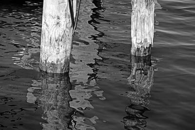 Photograph - Under The Old Dock Bw by Mary Bedy