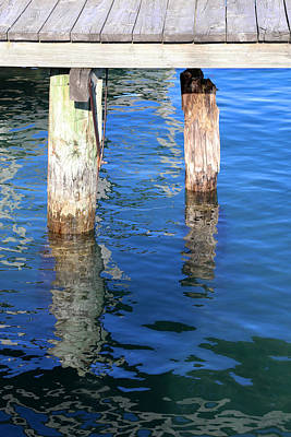 Photograph - Under The Old Dock With Reflections by Mary Bedy
