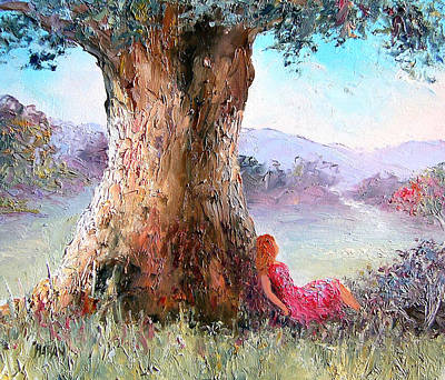 Girl In Landscape Painting - Under The Old Gum Tree by Jan Matson