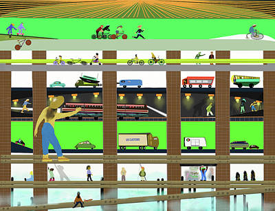 Digital Art - Under The Overpass by SC Heffner