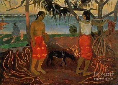 Gauguin Mixed Media - Under The Pandanus by Gauguin