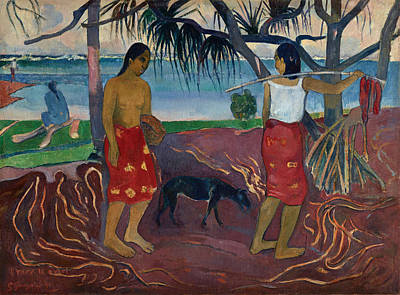 Painting - Under The Pandanus by Paul Gauguin