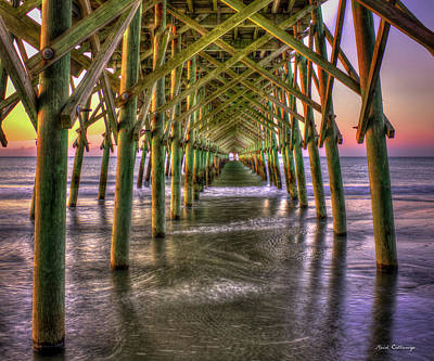 Photograph - Under The Pier Folly Beach Pier Sunrise Folly Beach Pier Art by Reid Callaway