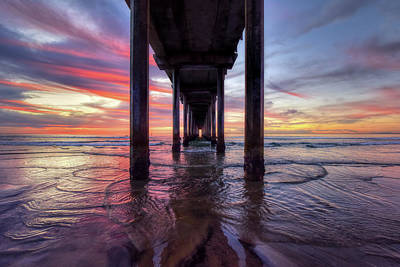 Photograph - Under The Pier Sunset by Mark Whitt