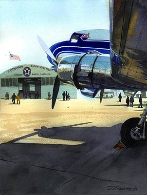 Art Print featuring the painting Under The Plane's Wing by Sergey Zhiboedov