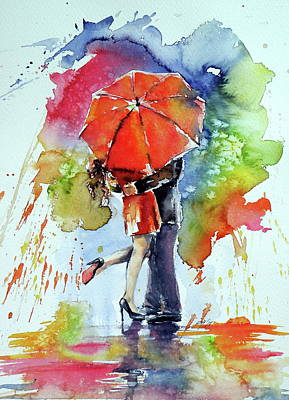 Painting - Under The Red Umbrella by Kovacs Anna Brigitta