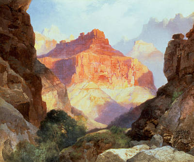Under The Red Wall Print by Thomas Moran