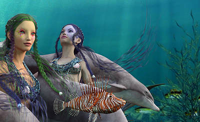 Angel Mermaids Ocean Digital Art - Under The Sea  by Betsy Knapp
