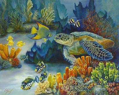 Ocean Turtle Painting - Under The Sea by Catherine Davis