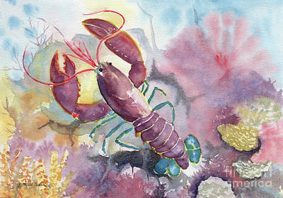 Painting - Under The Sea - Colorful Lobster by Melly Terpening