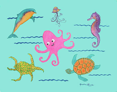 Painting - Under The Sea, Pink Octopus by Madeline Lovallo