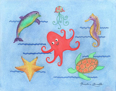 Painting - Under The Sea, Red Octopus by Madeline Lovallo