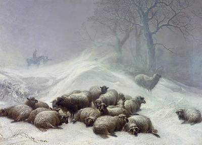 Snow Scene Painting - Under The Shelter Of The Shapeless Drift by Thomas Sidney Cooper
