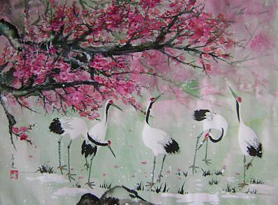 Under The Snow Plums 2 Art Print by Lian Zhen