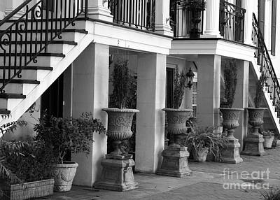 Photograph - Under The Steps In Savannah - Black And White by Carol Groenen