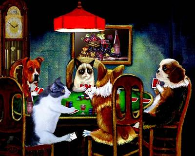 Poodle Digital Art -  Under The Table 2 by Ron Chambers