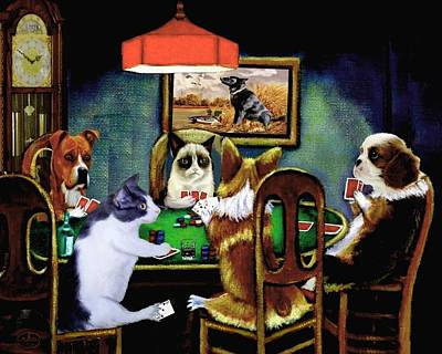 Cats And Dogs Painting - Under The Table by Ron Chambers