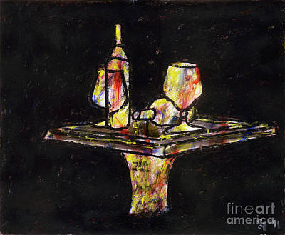 Table Wine Mixed Media - Under The Table by Samir Patel