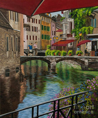 Stone Buildings Painting - Under The Umbrella In Annecy by Charlotte Blanchard