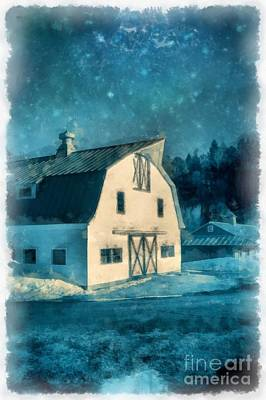 New England Barn Painting - Under The Vermont Moonlight Watercolor by Edward Fielding