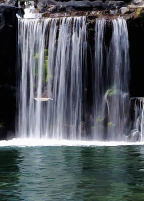 Mixed Media - Under The Waterfall by Pamela Walton
