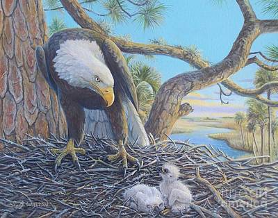 Pinetree Painting - Under Thy Wings - Bald Eagle And Eaglets by Susan A Walton