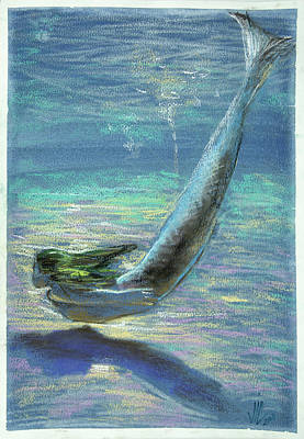 Pastel - Under Water.mermaid Painting .naiada. Original Pastel On Paper by Vali Irina Ciobanu