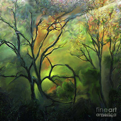 Autumn Landscape Drawing - Under Wood In Autumn by Christian Simonian