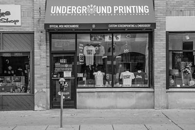 Photograph - Underground Printing East Lansing Black And White  by John McGraw