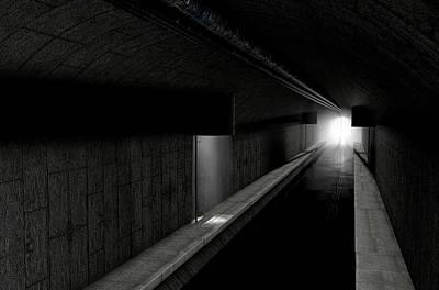Abandoned Digital Art - Underground Sewer by Allan Swart