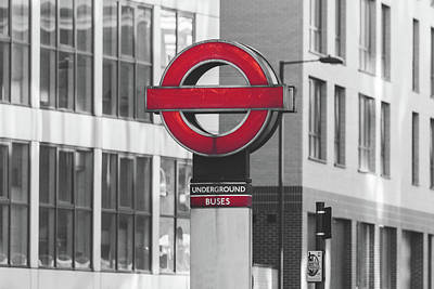 Photograph - Underground Sign London Isolated On Black And White Background by Jacek Wojnarowski