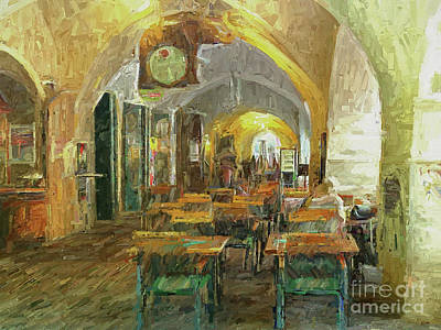 Photograph - Underneath The Arches - Street Cafe, Prague by Leigh Kemp