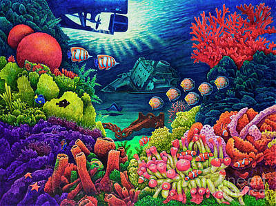 Painting - Undersea Creatures Vii by Michael Frank