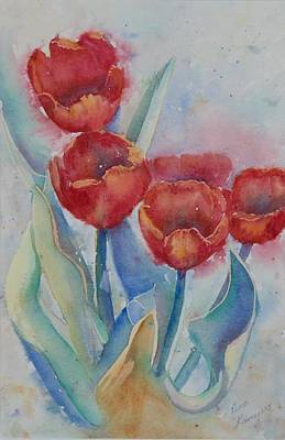 Undersea Tulips Art Print by Ruth Kamenev