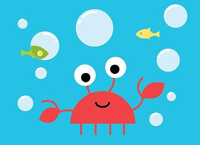 Underwater Crab Art Print by Pbs Kids