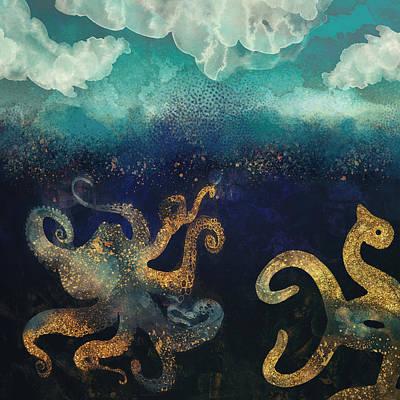 Abstract Seascape Digital Art - Underwater Dream II by Spacefrog Designs