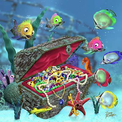 Digital Art - Underwater Fantasy 20x20 Crop by Doug Kreuger