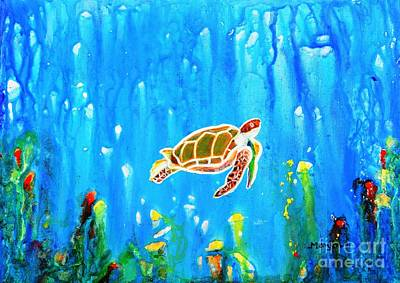 Painting - Underwater Magic 5-happy Turtle by Manjiri Kanvinde