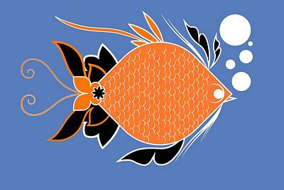 Aquatic Life Digital Art - Underwater Ocean Fish And Bubbles Illustration by Andy Gimino