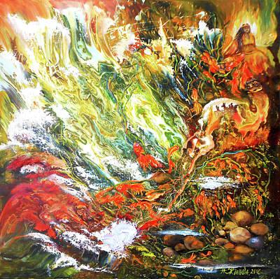 Underwater Odyssey In Abstract/simbolism Style  Art Print by Natalya Zhdanova