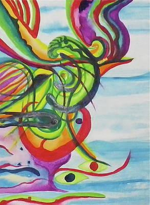 Painting - Underwater Psychedelic Bird by Erika Swartzkopf